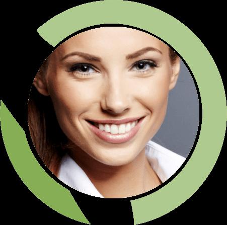 woman circle cosmetic dentistry